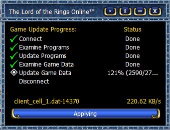 Lord of the Rings Online patcher - at 121%