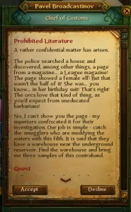 Quest text